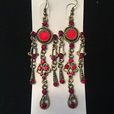 NWT Ruby Red Crystal Bronze Vintage Dream Catcher Chandelier Earrings