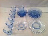 20 Pieces Vintage Blue Glassware Plates Saucers Cups Scalloped Ruffled