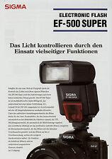 Prospetto 1 fogli SIGMA ef-500 SUPER ELECTRONIC FLASH 5/01 2001 brochure broschyr