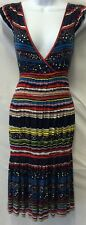 MARC JACOBS Pleated Tiered Cross Over Geometric Stripe Jersey Dress Size M