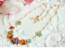 LES NEREIDES IMAGINARY GARDEN PURPLE FLOWER AND AMBER STONE NECKLACE