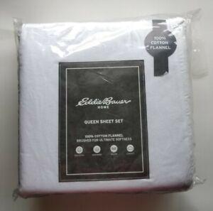 Eddie Bauer Queen Sheet Set 100% Cotton Flannel White