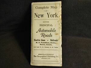 1910 COMPLETE MAP NEW YORK PRINCIPAL AUTOMOBILE ROADS GEOGRAPHICAL PUBLISHING CO