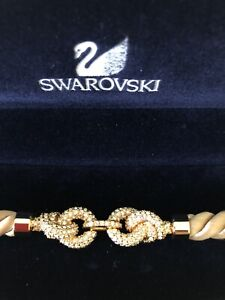 Swarovski Woven Gold Silk And Crystal Knot Bracelet NEW WITHOUT TAGS