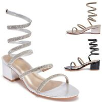 Womens Ladies Elegant Mid Heel Open Peep Toe Diamante Ankle Strap Sandals Size