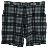 Nike Golf Mens 42 Flat Front Plaid Easy Care Wicking Stretch Logo Golf Shorts