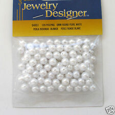 White Acrylic / Faux Pearl Beads 6mm 120 pieces Package Loose Plastic