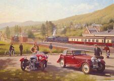 Morgan Classic Vintage Car GWR 4-6-0 Steam Train Railway Engine Birthday Card