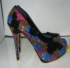 "New BLACK/multi  rhinestone  6""HEEL 2""HIDDEN PLATFORM SHOES SIZE  7.5 p"