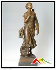 E.Y.chenlo Bronze statue, woman w/fish sculpture