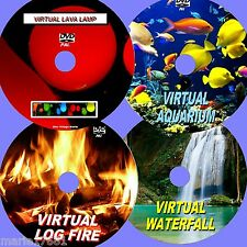 VIRTUAL WATERFALL, LOG FIRE, FISH TANK, & LAVA LAMP 4 GREAT SOOTHING DVDs NEW