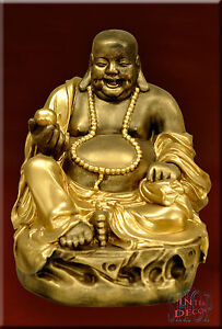 Figur Glücksbringer Feng Shui lachender Buddha Statue Dekofigur Stuckgips
