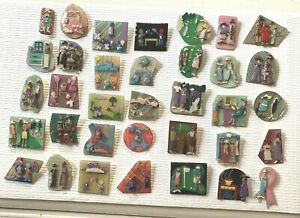 COLLECTIBLE LOT Of 30 PINS By LUCINDA YATES, ME -Little People Women Designs  #1