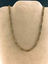 Gold Figaro Chain 18 inch 4mm 24k Yellow Gold Plated Necklace Chain