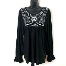 Free People Soul Mate Crochet Top S boho peasant bell sleeve black white