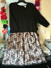 MONSOON BLACK SOFT TOP & LACE SKIRT SKATER STYLE JUMPER DRESS SIZE 20/22