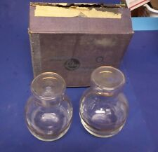 TWO VINTAGE  LIBBEY GLASS CONTAINERS, HAN-DE-CANTERS, WITH GOLD TRIM NEW IN BOX
