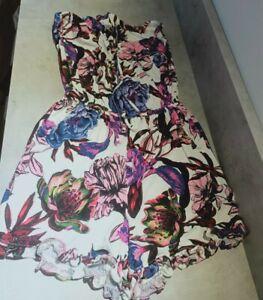 Next Size 10 White Purple Playsuit Strapless Pockets Stretch