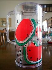 New listing Watermelon Pitcher 56 oz. with Lid Hard Plastic Summer White Red Green Black !