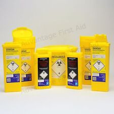 Yellow Sharps Bins for Insulin Syringe, Needle Blade Disposal. Clinical Waste.