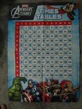 Teacher Resource Poster TIMES TABLES Marvel AVENGERS ASSEMBLE up to 12 x 12 BN