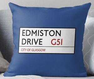 Edmiston Drive Quality Cushion with Insert, Glasgow Rangers, Cushion, Velvet