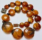 ANTIQUE CHINESE EGG YOLK NATURAL BALTIC AMBER BEAD NECKLACE GREAT COLOR RARE!