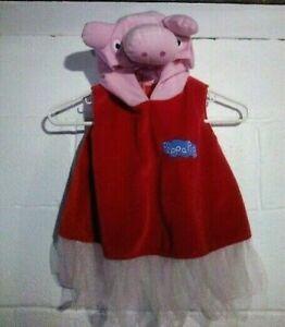 TODDLER GIRLS' 2T PEPPA PIG COSTUME/DRESS- VELOUR W/TULLE