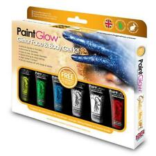Paint Glow Glitter Face and Body Gel Kit 6 Glittery Colors Halloween Make-up