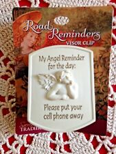 """Auto Visor Clip """"MY ANGEL REMINDER PUT -YOUR CELL PHONE AWAY"""" Metal Clip, *NEW*"""
