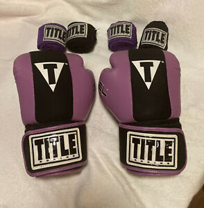 gel Purple Title Boxing Gloves Size Small With Bag And 4 Straps