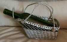 Vintage 60's Silver plate Basket Weave Wine Holder Server
