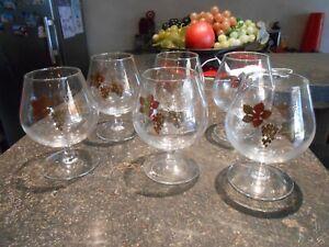 6 Verres à Vin de Dégustation au Décor de Raisin Feuille de Vigne doré