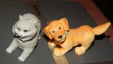 Dollhouse Doll House Replacement Dog &Grey Cat Bobble head Pets Figure Toys Lot