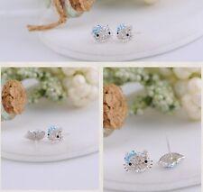 Sterling Silver Swarovski Elements Crystal Hello Kitty Stud Earrings Gift Box AJ