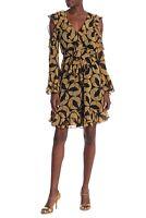 Diane von Furstenberg Women's Joni Leaf Print Ruffle Dress XS NWT N2152 $548