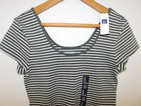NWT Gap Women's Scoop Neck Fitted Stretch T-Shirt Green/White Striped Large New