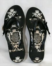 Womens Juicy Couture 10M Black White Thong Sandals Bow Charms 1.5IN Wedge Heels