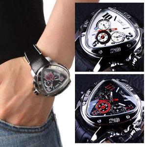 FASHION JARAGAR Men Leather Selfwinding Mechanical Automatic Triangle Dial Watch