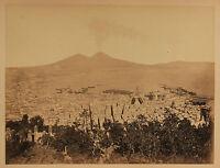Italia Vista Generale Di Napoli Vintage Albumina Ca 1875