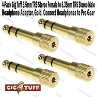 """4-Pack Gig Tuff 3.5mm TRS Stereo Female to 1/4"""" Male Headphone Adapter Gold NEW"""