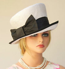 Wedding hat, Church Hat Women's Black & White Hat Mad Hatter Cloche tailored hat