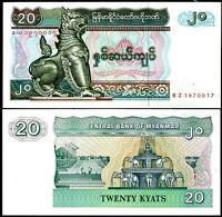 BURMA 20 KYATS MYANMAR BZ PREFIX REPLACEMENT P 72 UNC