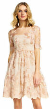 $229 ADRIANNA PAPELL Embroidered Party Dress with Sheer Elbow Sleeves Size 6 NWT
