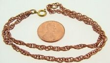 "2 VINTAGE COPPER 3mm. ROPE DOUBLE CHAIN 7.25"" BRACELETS N60"