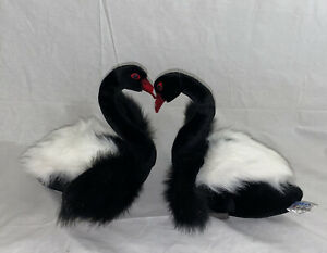 Hansa Toys Black and White Swan Bird Plush Stuffed Animal 11inches Hand Crafted