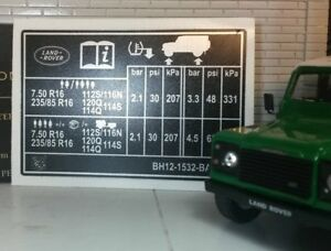Land Rover Defender 90 110 TD5 TDCi TDi Door Pillar Tyre Pressure Warning Decal