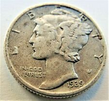 1939 D UNITED STATES, Mercury Dime grading About VERY FINE.
