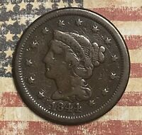 1844 BRAIDED HAIR COPPER LARGE CENT COLLECTOR COIN. FREE SHIPPING