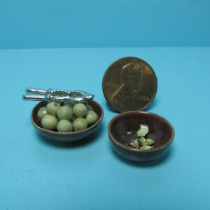 Dollhouse Miniature Bowl of Mixed Nuts with Metal Nut Cracker With Shell Bowl